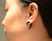 Fake Gauge Earrings Pincher Earrings Mini Hook Tribal Earrings - Fake Gauges Plugs Bone Horn - FG062 H G1