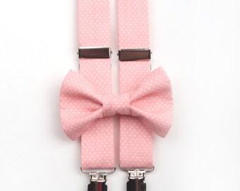 Pink Polka Dot Bow Tie & Suspenders Set, boys bow tie, men's suspenders, mens bow tie, pink bow tie, pink suspenders, pink braces, polka dot