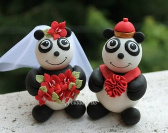Panda wedding cake topper, custom bear cake topper, bride and groom chinese style wedding with personalized banner, red wedding