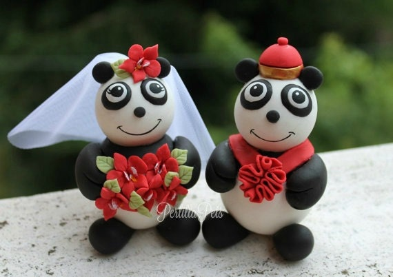 Panda cake topper - Chinese style wedding with flower sash and red bouquet, with banner