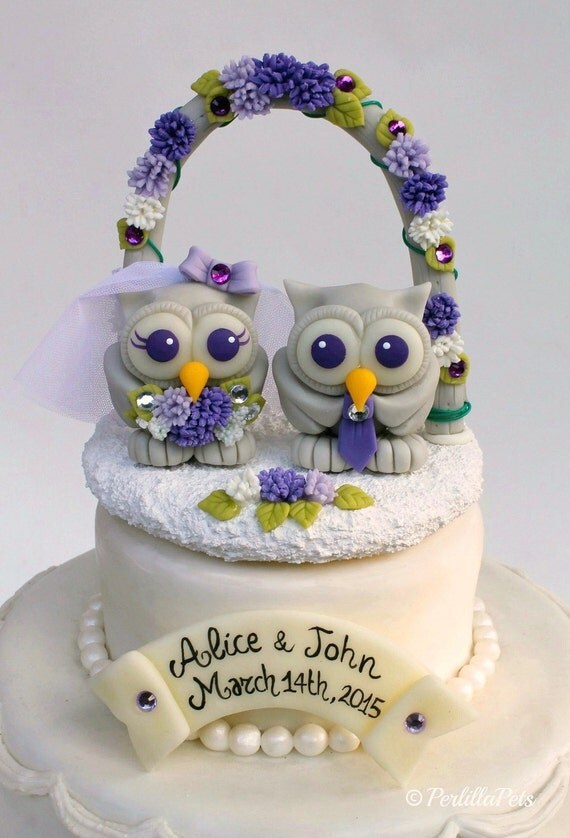 Owl love birds wedding cake topper with floral arch and stand, purple lilac wedding, custom cake topper with banner