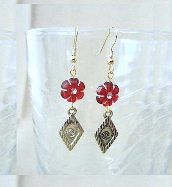 Flower Earrings, Red Flower & Gold Celtic Inspired Diamond Dangle Earrings, Red Mordern Drop Earrings, Celtic Earrings, Tribal Abstract