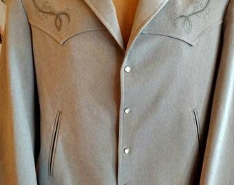 Vintage Men's Cloud Grey Collared Cowboy Jacket