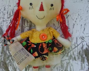Primitive HALLOWEEN RAGGEDY ANN Doll Shelf Sitter