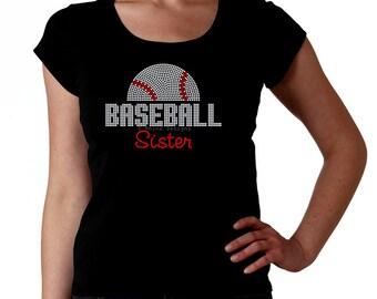 Baseball Sister RHINESTONE t-shirt tank top sweatshirt S M L XL 2XL - Sports team bling mlb american national league Hermana