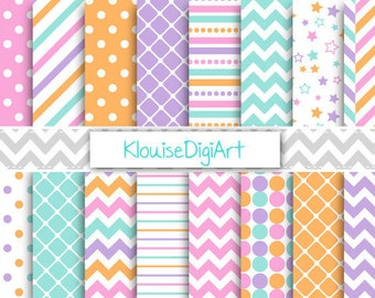 Pink, Purple and Green Digital Paper Pack with Chevrons, Stars, Stripes and Diamonds for Personal and Small Commercial Use (0183)
