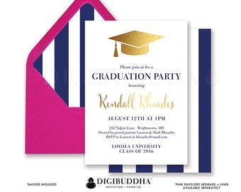Black & White Stripe Graduation Invitation Gold Cap Modern