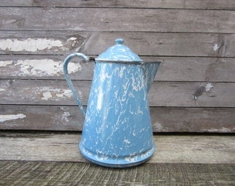 Vintage Home Decor Antique Graniteware Coffee Pot Tea Pot Blue Swirl Enamelware Country Kitchen Vintage Cookware Rustic Cabin Primitive vtg
