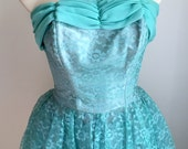 """RESERVED For ROB Vintage 1950s Teal Turquoise Strapless Lace Tulle Formal Prom Dress XS 24"""" Waist"""