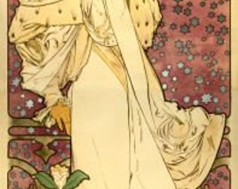 Art Nouveau Lady of the Camelias by Alphonse Mucha