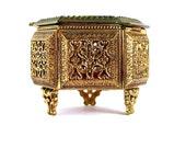 Antique Jewel Casket Gold Filigree Beveled Glass Box Vanity Ring Holder