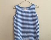 Vintage Blue and White Striped Silk Tank Top Size Medium