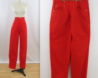 Vintage 1980s High Waisted Denim Jeans in Cherry Red - Small Slim Fit by Stone Jeans