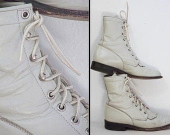 Bone Combat Boots 1980s Justin Brand Roper Kilty Leather Lace Up Size 6 B White
