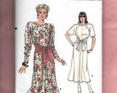 Vintage 1985 Vogue 9460 Misses' Dress With Flared Hemline, Sash Belt, Long Or Short Raglan Sleeves, Sizes 14, 16, 18, UNCUT