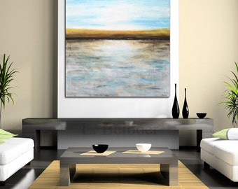 Original Abstract landscape painting 36x36 square large landscape abstract painting oil blue modern art by L.Beiboer