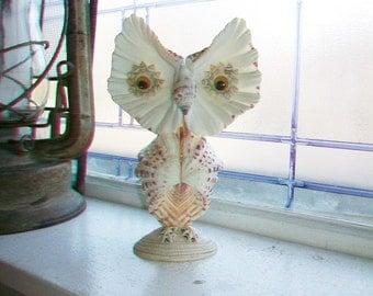 Shell Art Owl Figurine 7.5 Inch