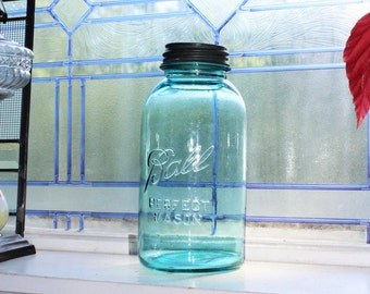 Blue Ball Jar Half Gallon Ball Perfect Mason Jar Vintage 1923 to 1933