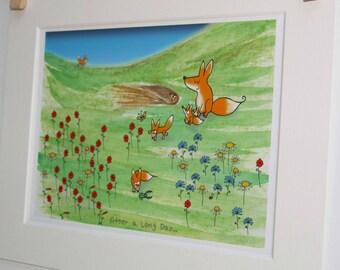 Fox family print for children, nursery decor, christening gift, birthday gift