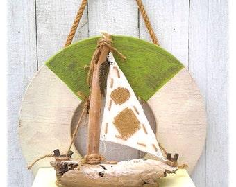 Nautical, Life Preserver, Round Plywood Shelf, Beach Decor, Sailboat Display, Green and white,