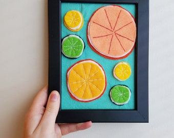 Felt Citrus Slices  - 5 x 7
