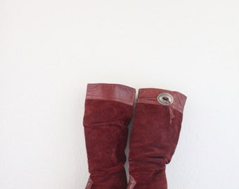oxblood knee high leather slouch boots / 7