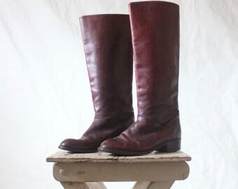 Vintage 70's Italian Raisin Leather Campus Boots Sz 39/7
