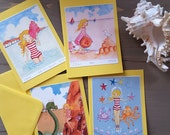 4 Call of the Sea, mini Greeting Cards...