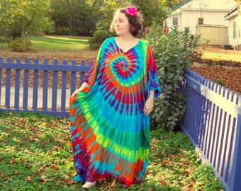 Tie Dye Caftan Poncho, Adult and Plus Size Tie Dye Dress, Rainbow Sky, L XL 2X 3X