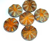 Czech Glass Beads, 18mm Faceted Carved Coin,  Starburst Picasso, Burnt Orange 2 Beads