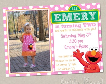 Elmo Inspired Invitation, Elmo Birthday Party, Red Pink Orange, Sesame Street Elmo Birthday, Printable DIY Elmo Invitation, Girly Elmo Party