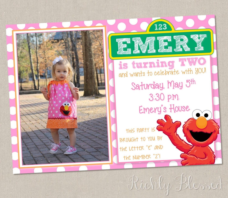 Elmo invitations – Customized Elmo Birthday Invitations