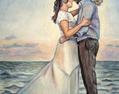 Watercolor Custom Portrait, Husband and Wife Painting, Wedding Portrait, Wedding on beach, ocean painting, couple portrait, Free Shipping