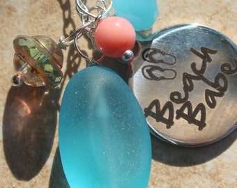 Beach Babe Necklace, Sea glass Charm Necklace, Ocean Jewelry, Beach Jewelry, Czech crystals, Pearl, Jade, Nautical Jewelry by inarajewels