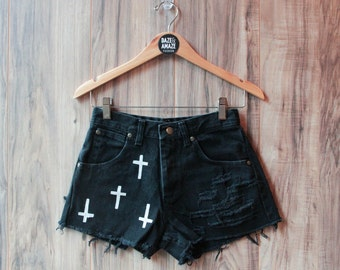 High waist vintage black denim shorts | Ripped distressed shorts | Cross denim shorts | Painted denim | Hipster shorts |  Festival shorts |