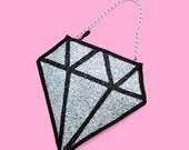 Silver Glitter Diamond Clutch Handbag