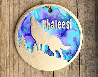 Howling Wolf Tag / Pet Tag / Dog ID Tag / Colorful Howling Wolf Etched Brass Pet Tag