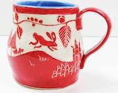 Handmade Art Pottery MUG - Leap BUNNIES Rabbits - Coffee Tea Cup Mug - SGRAFFITO Carved Artist Design - Personalize Color - Ceramic Art