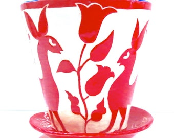 OTOMI Inspired FLOWER POT & Saucer, Whimsical Animals, Ceramics, Folk Art Influence, Outdoors Use