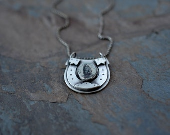 Horseshoe Necklace. Scrimshaw Pendant. Tattoo Style. Lucky Horseshoe. Tall ship. Sterling silver pendant. Traditional tattoo. Pirate ship.