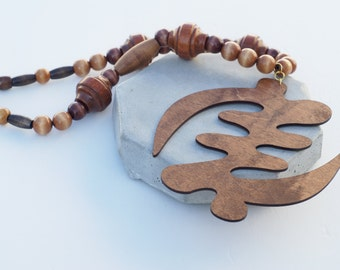 Mens Beaded Necklace With Oversized Gye Nyame Symbol Afrocentric Necklace Adinkra Jewelry Afrocentric Jewelry Mens Jewelry