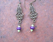 Hamsa Hand Brass Charm with Green and Purple Beaded Earrings