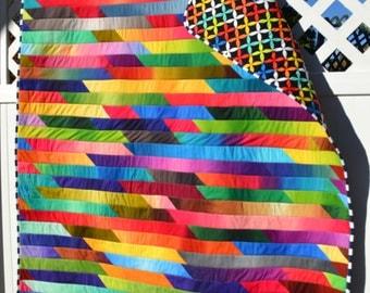 Modern Rainbow Lap Quilt Color block Mod Graphic Bold Boho Chic Hippie Patchwork Tie Dye Abstract Handmade Art Quilt