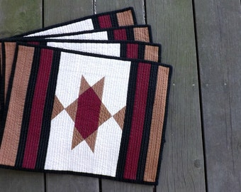 Southwest Star with black quilted placemats (set of 4) Lone Star State Country western Indian horse blanket farmhouse Americana dining.
