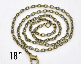 """24 Bronze Necklaces - WHOLESALE - Flat Link Chain - 18"""" Long - Ships IMMEDIATELY from California - CH699b"""