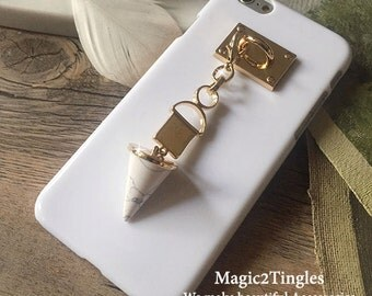 Glamorous Unique Classic Gold Hook with Unique Chain For iPhone SE & 5s Marble Stone Crytal Evil Eye Spike Triangle Unicorn Stars Geometry