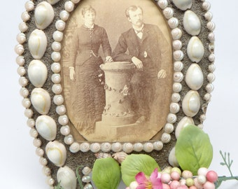 Vintage Shell Picture Frame with Photograph