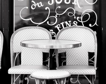 Paris Cafe Photography - Tarte du Jour, Cafe Chairs and Table, Black and White Photo, Paris Home Decor, French Kitchen Wall Art