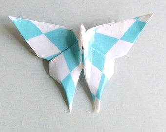 Blue and white Butterfly Origami brooch