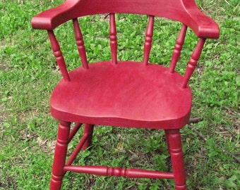 Old Low Back Windsor Chair Painted Red